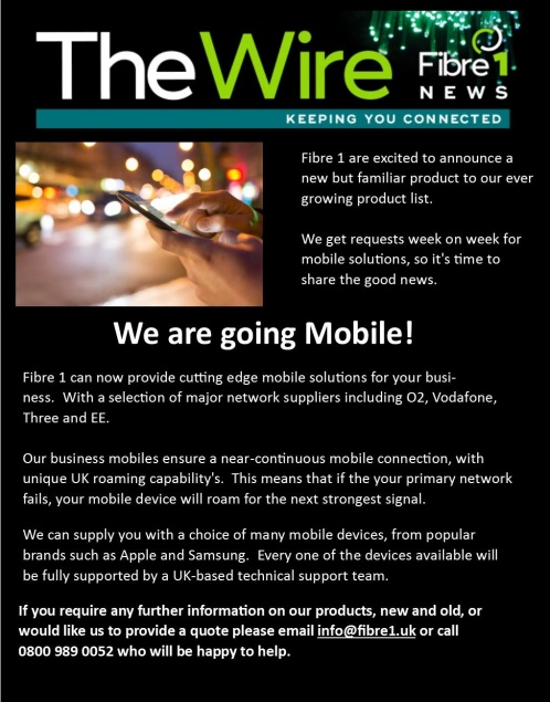 We are going mobile! | News | Fibre1